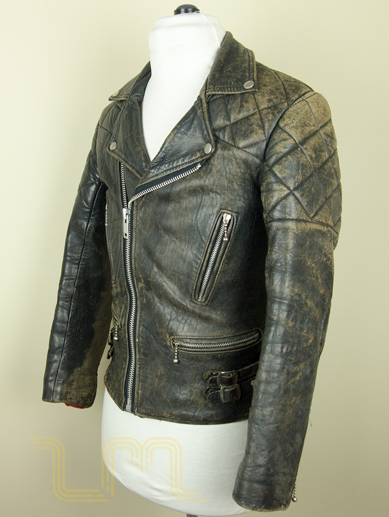 Vintage Worn Black British Leather Biker Jacket | Item No. 121