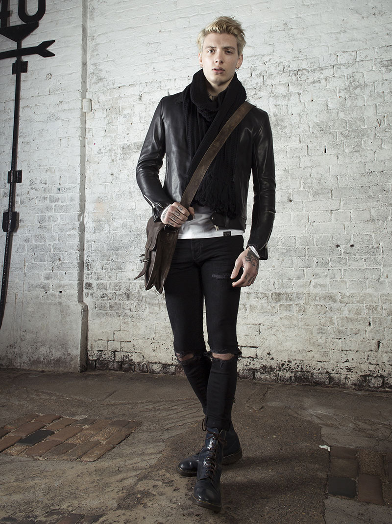 leather monkeys fighter biker jacket with black henley top www.lmuk.co