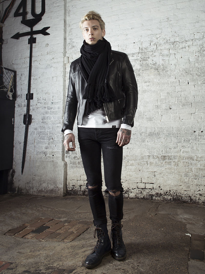 leather monkeys invictus biker jacket with vintage leather satchel www.lmuk.co