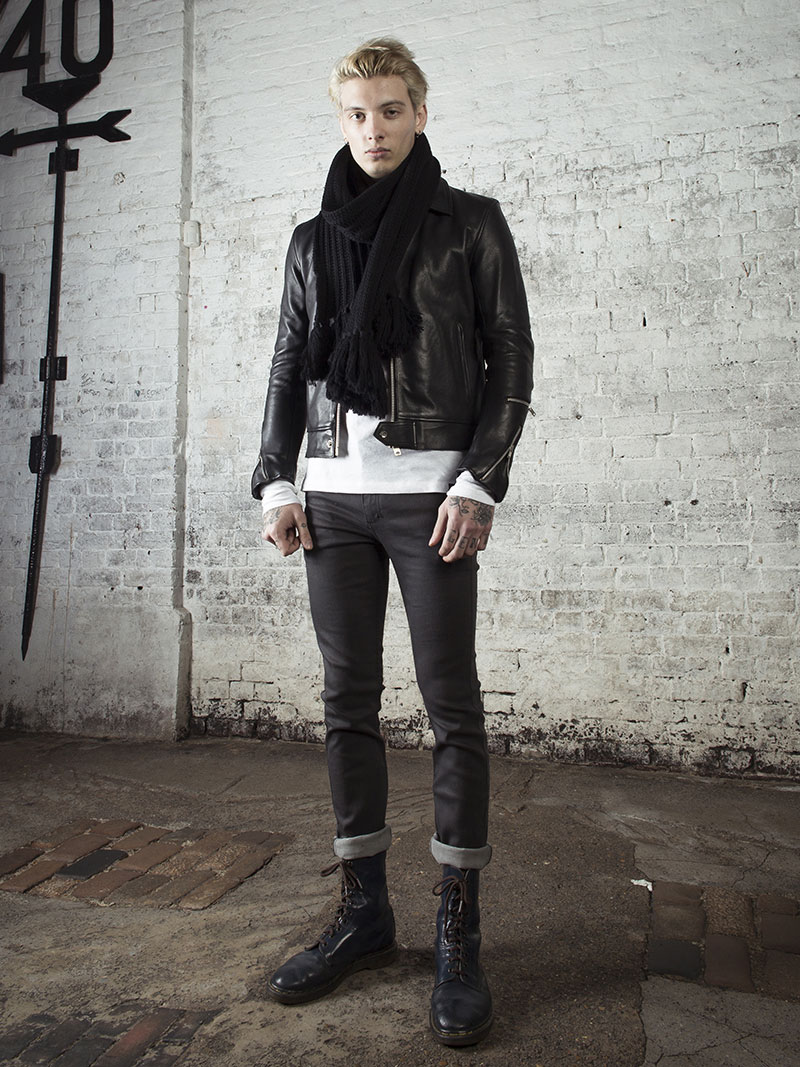 leather monkeys fighter biker jacket with white henley top www.lmuk.co