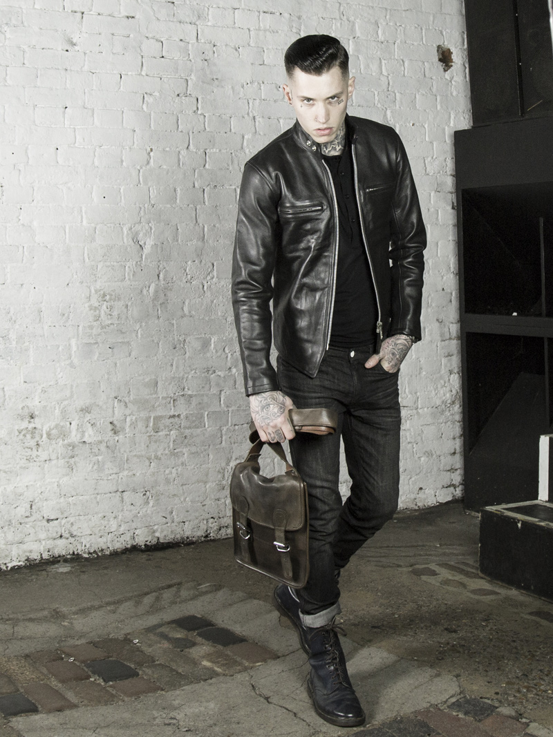 leather monkeys leather biker jacket with vintage leather bag www.lmuk.co
