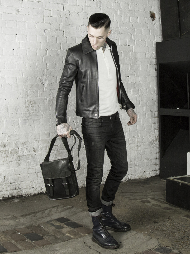 leather monkeys fighter biker jacket with vintage leather satchel www.lmuk.co