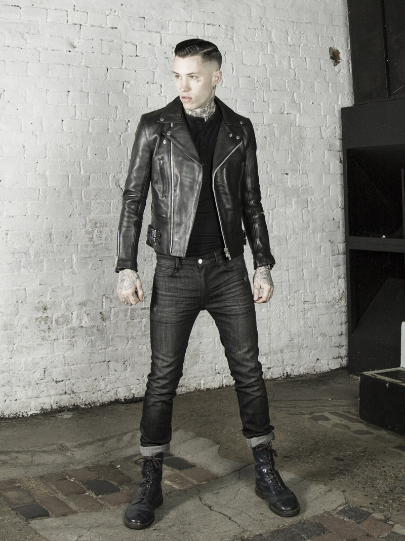leather monkeys maverick biker jacket with black henley top www.lmuk.co