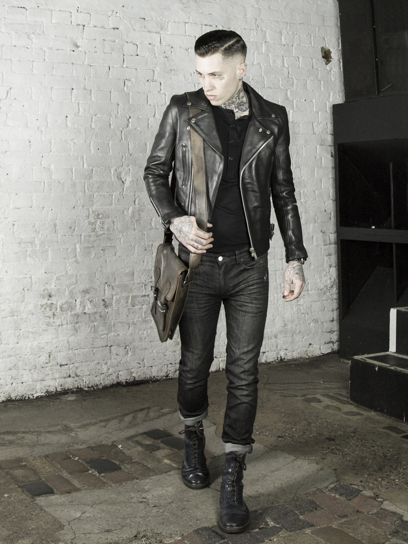 Leather Monkeys biker jacket, clothing and accessories lookbook look 1