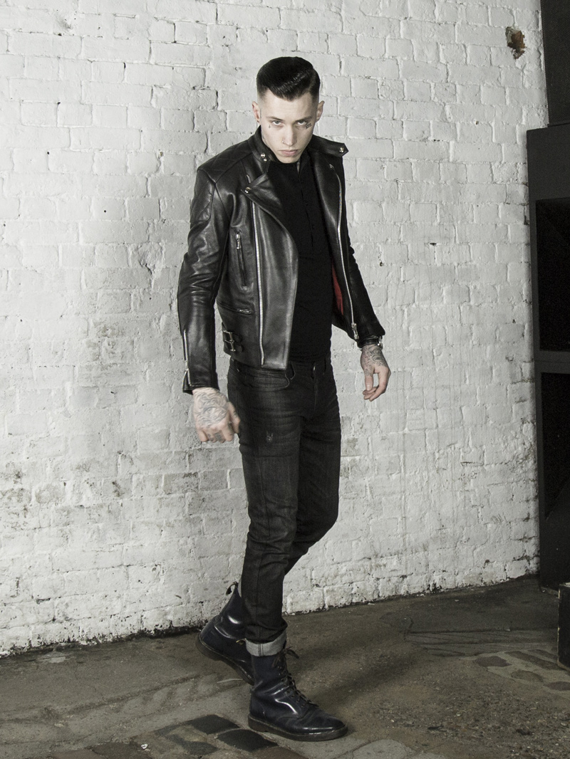 leather invictus maverick biker jacket with black henley top www.lmuk.co