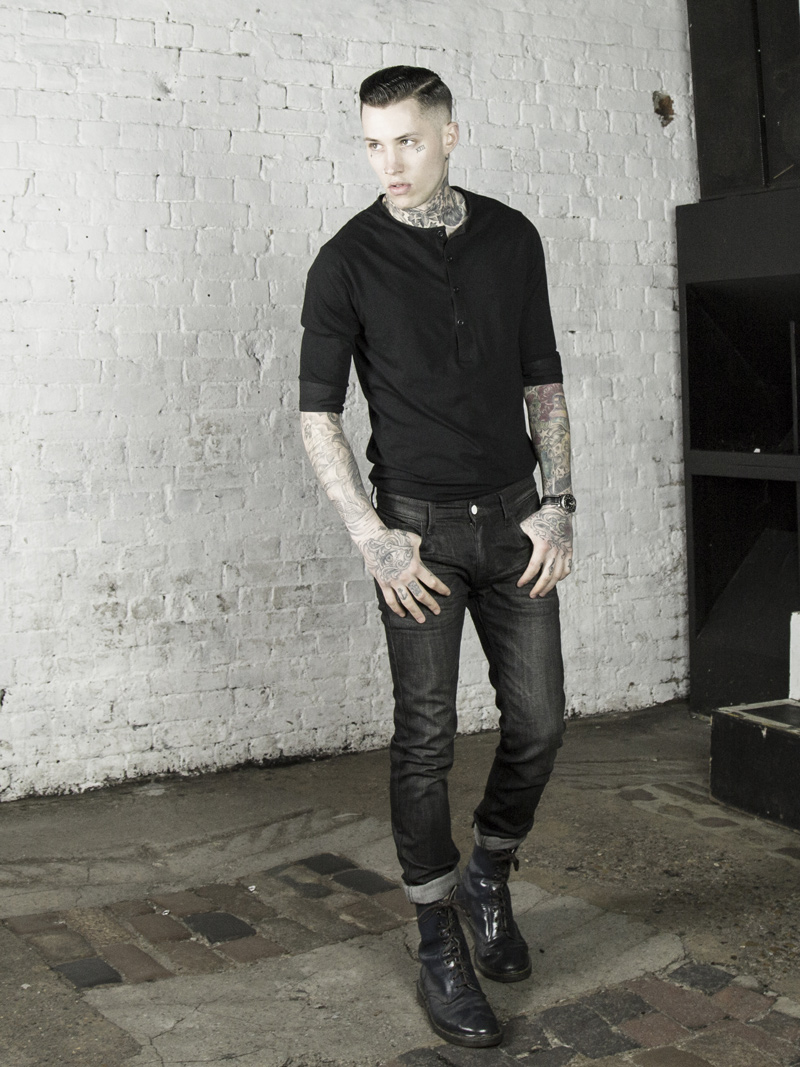 LMUK Rembrandt half-sleeve henley top in black www.lmuk.co