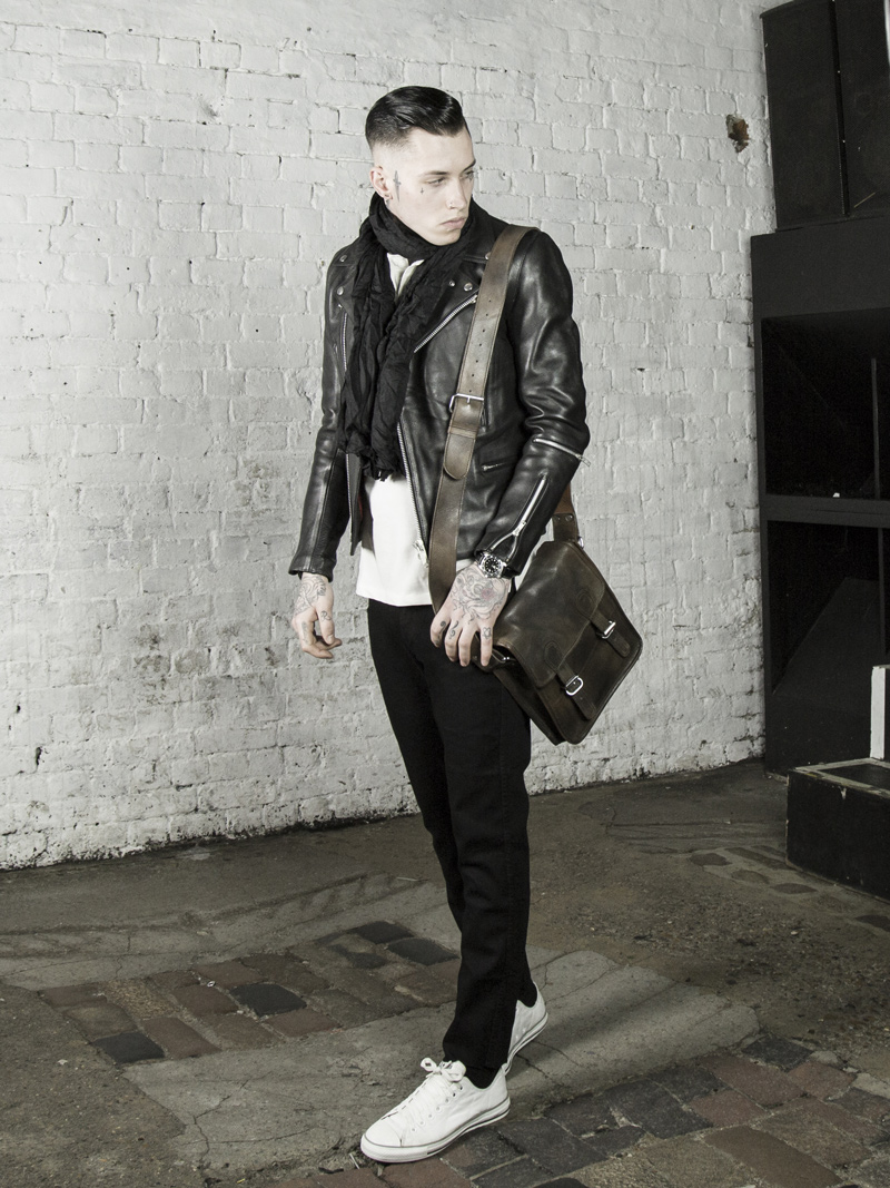 leather monkeys maverick biker jacket with vintage leather satchel www.lmuk.co