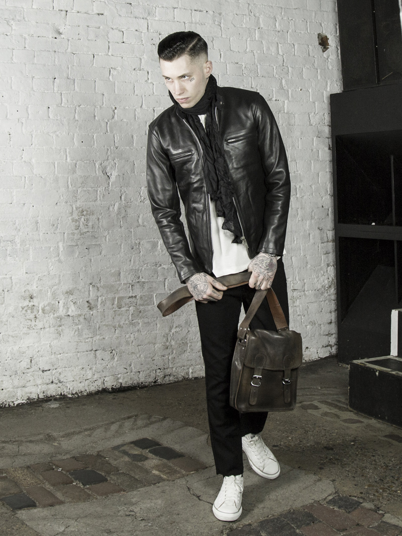 leather monkeys icon cafe racer jacket with vintage leather satchel www.lmuk.co