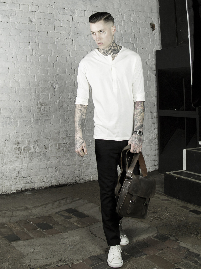 LMUK Rembrandt half-sleeve henley top with vintage brown leather satchel www.lmuk.co