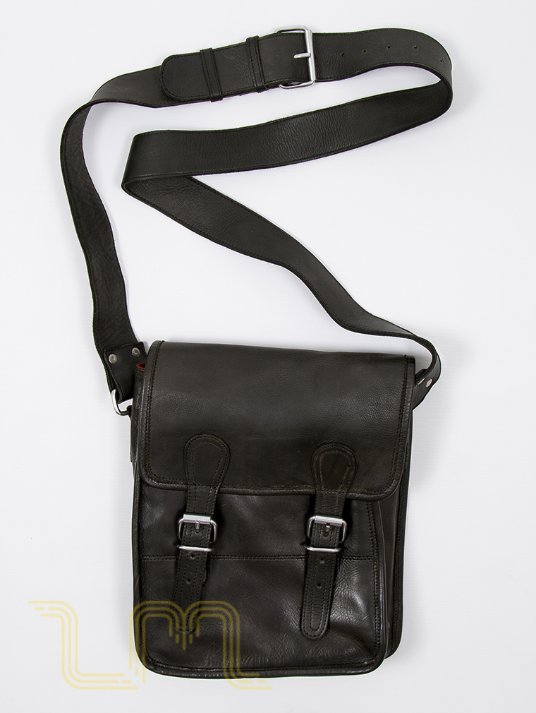 Europa Leather Satchel Bag in Vintage Ash Black image one