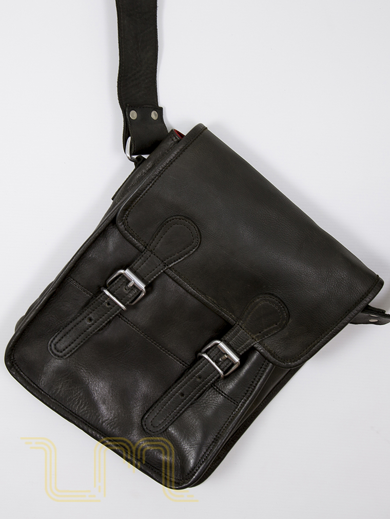 Europa Leather Satchel Bag in Vintage Ash Black image two