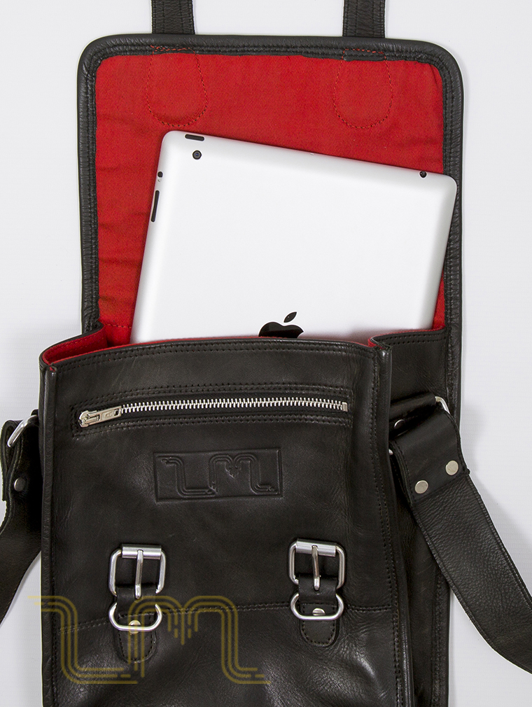 Europa Leather Satchel Bag in Vintage Ash Black image four