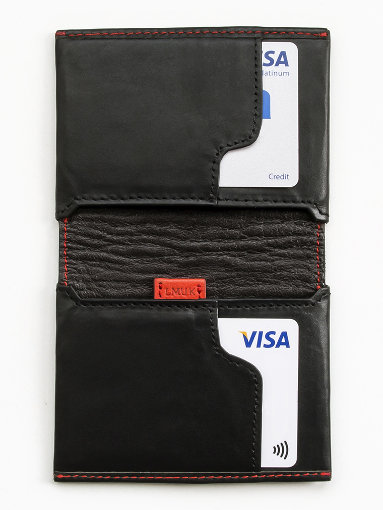 Io Leather Credit Card Wallet in Black image two