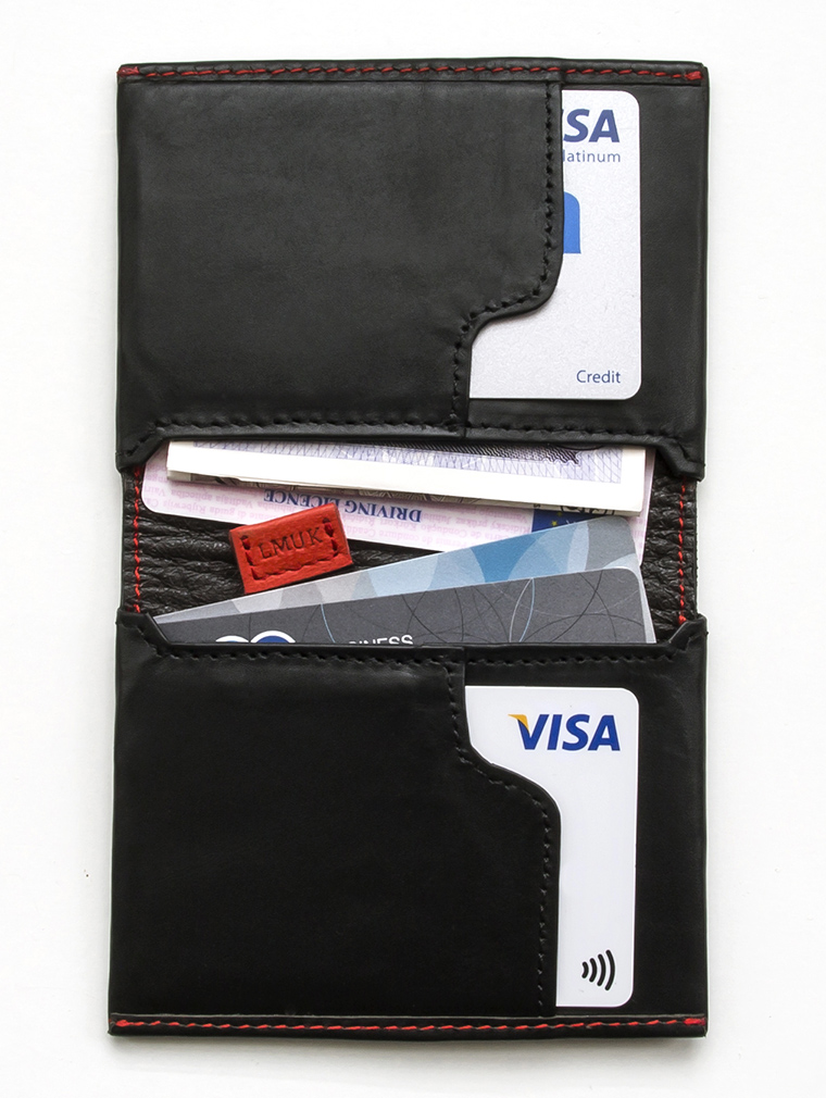 Io Leather Credit Card Wallet in Black image three