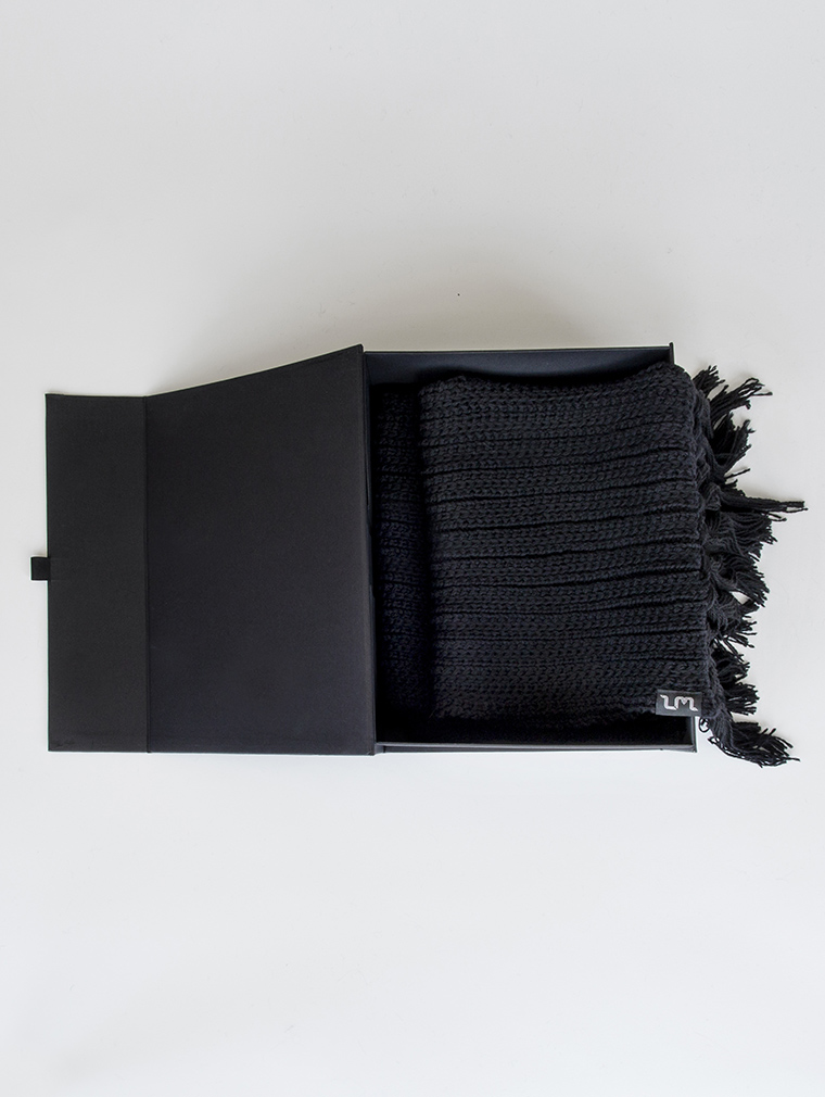 Crux Merino Wool Long Scarf in Black image four
