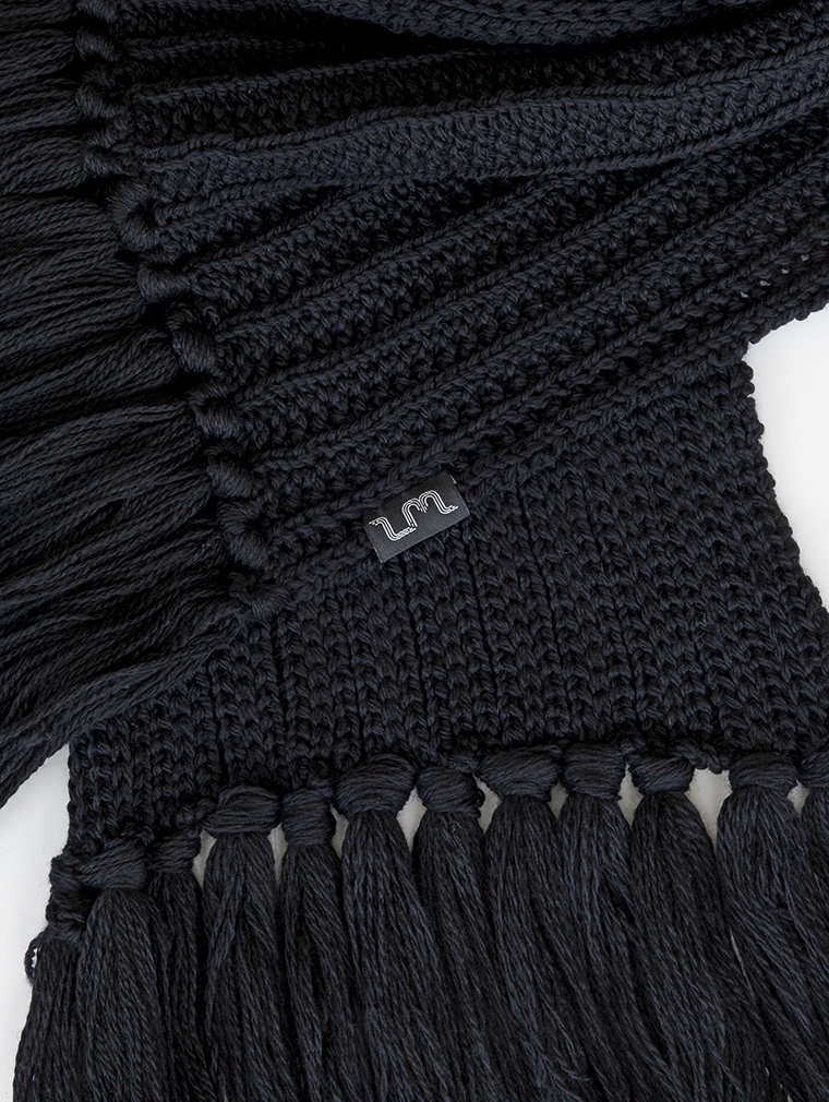 Crux Merino Wool Long Scarf in Black image two